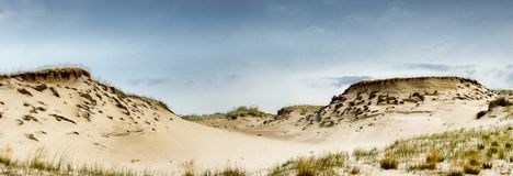 Opiniones panorámicas de las dunas lituanas Fotografía de archivo