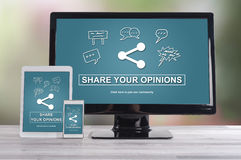 Opinions sharing concept on different devices Stock Image