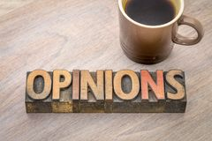 Opinions word abstract in wood type Royalty Free Stock Image