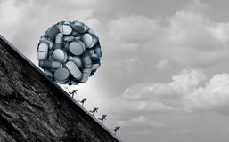 Opioid Crisis. And prescription painkiller addiction epidemic concept as a group of people running away from dangerous pills as a medical addict problem with 3D Royalty Free Stock Image