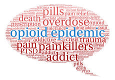 Opioid Epidemic Word Cloud Stock Photo