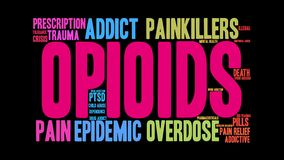 Opioids Animated Word Cloud royalty free illustration