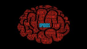 Opioids Animated Word Cloud vector illustration