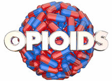 Opioids Prescription Drugs Addiction Danger Pills Capsules. 3d Illustration Royalty Free Stock Image