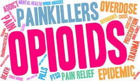 Opioids Word Cloud. On a white background Royalty Free Stock Photos