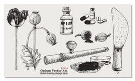 Opium Vector Set. Isolated on white background Stock Photo