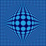 OPkunst der Zusammenfassungs-optischen Täuschung mit blauen Punkten auf dunkelblauem Hintergrund stockbild