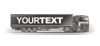 Opleggervrachtwagen met tekstmalplaatje op aanhangwagenillustratie Vector Stock Foto's