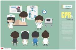 Opleiding CPR Het medische team onderwijst over cardiopulmonale reanimatie in het ziekenhuis Vector Vlak Ontwerp vector illustratie