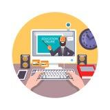 Opleiding, onderwijs, online leerprogramma, e-lerend concept Vlakke vectorillustratie Stock Afbeeldingen