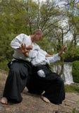 Opleiding van Aikido stock afbeeldingen