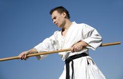 Opleiding van karatekampioen - kata royalty-vrije stock afbeelding