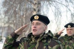 Opleiding van Russische politie Speciale Krachten swat royalty-vrije stock foto