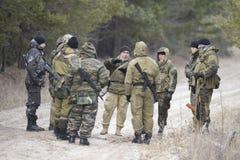 Opleiding van Russische politie Speciale Krachten swat royalty-vrije stock afbeeldingen