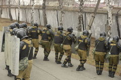 Opleiding van Russische politie Speciale Krachten swat royalty-vrije stock foto's