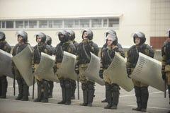 Opleiding van Russische politie Speciale Krachten swat royalty-vrije stock fotografie