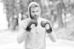 Opleiding voor grote dag De mensenatleet op geconcentreerd gezicht met sport gloves het praktizeren in dozen doend stempel, aarda stock foto
