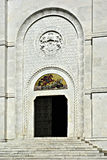 Oplenac. Entrance to the famous Serbian church of St Goerge at Oplenac, mausoleum of the Serbian royal family Karadjordjevic, at sunny summer day Royalty Free Stock Photos