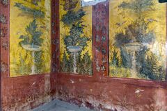 Free Oplontis Villa Of Poppea - On The Walls Are Represented, On A Yellow And Red Background, Gardens With Beautiful Fountains, Stock Images - 173839094