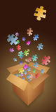 Oplossing in een doos Stock Foto's