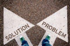Oplossing en probleemdilemmaconcept stock afbeeldingen