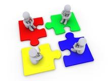 Oplossing met vier verschillende raadselstukken Stock Afbeelding