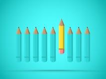 Opmerkelijk geel potlood Bedrijfsvoordeelkansen en succesconcept vector illustratie