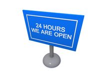 Opn 24 hours sign. 3d illustration of open 24 hours sign isolated on white background Royalty Free Stock Photo