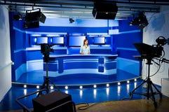 Opname bij de studio van TV Stock Foto's