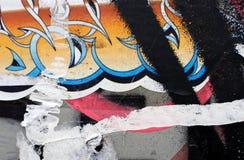 Opnieuw geschilderde multilayer oppervlakte abstracte achtergrond Een gebroken muur stock foto's