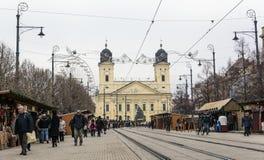 Opnieuw gevormde Grote Kerk in Debrecen-stad, Hongarije stock afbeeldingen