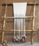 Opnieuw opgebouwd voorhistorisch leeftijds wevend weefgetouw Royalty-vrije Stock Foto