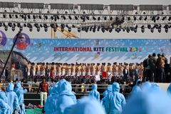 Opning-Zeremonie an 29. internationalem Drachenfestival 2018 - Indien Stockbild