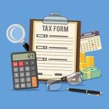 Opodatkowywa obliczenie, zapłata, księgowość, papierkowej roboty pojęcie Zdjęcia Royalty Free