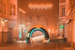 Opole alle luci di natale di notte fotografia stock