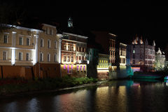 Opole and City Hall. Night picture postcard town of Opole Royalty Free Stock Photography