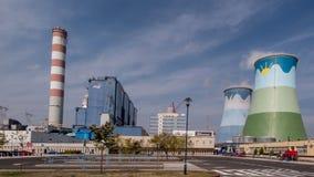 OPOLE, POLÔNIA, o 14 de setembro de 2015: A planta Opole de carvão em Brzez fotografia de stock royalty free