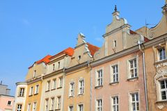 Opole, Poland. City architecture. Residential architecture at main square (Rynek stock images