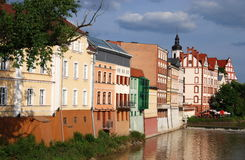 Opole, Poland: Houses on River Oder. Colourful 16-19th century baroque and Hanseatic-style buildings line the banks of the River Oder as it flows through the Royalty Free Stock Photography