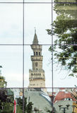 Opole, Poland. Town Hall tower reflects in Philharminic glass Royalty Free Stock Images