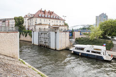 Opole, Poland. Water lock to the Mlynowka canal Stock Images