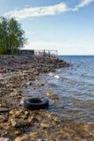 Opona na plaży Fotografia Royalty Free