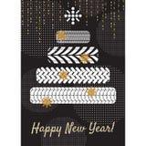 Opona nowego roku kartka z pozdrowieniami drzewny pojęcie ilustracja wektor