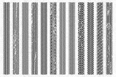 Opony stąpania ślada Brudny opona ślad, grunge tekstury stąpania deseniuje samochodowego śladu ilustracji wektorowego set i przew ilustracji