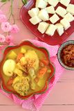 Opor ayam. Indonesian cuisine Opor Ayam, chicken cooked in coconut milk. Served with lontong and sambal Stock Images