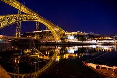 Oporto bridge by night royalty free stock photography