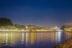Oporto City. Mira Gaia, Porto view at night over the Douro River Stock Photography