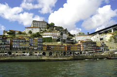 Porto Colorful Buildings, Ribeira Neighborhood Waterfront stock photography