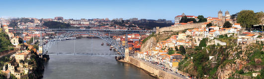 Oporto and Douro River, Portugal. An aerial view of the Douro river with the charismatic D. Luiz iron bridge built by Eiffel Stock Images