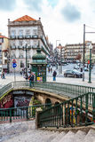 Oporto downtown, Portugal. Colorful view of the Oporto city downtown, Portugal. January 25, 2015 stock image